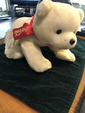 "Coca-Cola Plush Laying Polar Bear (2002) 12"" long Wot"