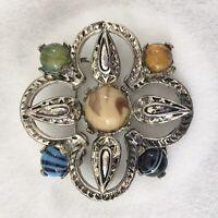Vintage Celtic Scottish Brooch Silver/Pewter Toned Leaf Agate Stones Cabochon