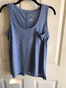 NWT Womens  Small Sonoma  misses Sleeveless Top Blue w Front Pocket