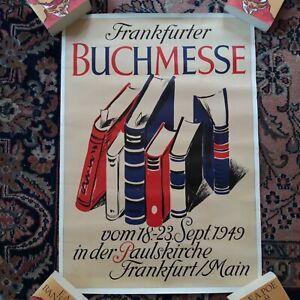 Plakat Frankfurter Buchmesse 1949 Original 59 x.42 cm Grafik Romann 1. Nachkiegm