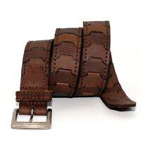 WM2802 - Toneka Men's steampunk Alternating Dual Tone Link Leather Belt - Brown