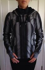 Lululemon Size 6 Run Track & Field Running Jacket Coat Black Coal Gray Ombre EUC