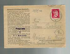 1944 Germany Auschwitz Concentration Camp Cover KZ Franz Balzar to Tarnow Poland