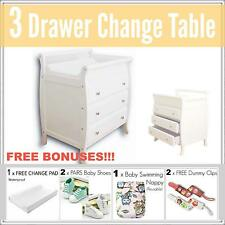 3 DRAWER WHITE Baby Change Table Chest Dresser Cabinet Changer Nursery