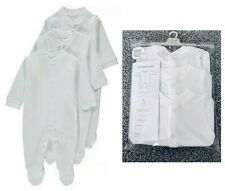 BNWT Mothercare Baby Boys Girls multipack 3 Pack Plain White Cotton Sleepsuits