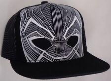 Hat Cap Marvel Comics Black Panther White Outline Face Printed Flat BIll CC