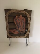 Western  Themed Minature Wooden Wall Plaque Rack Cowboy Boots Resin