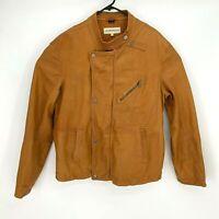 Emporio Armani Soft Pelle Leather Moto Jacket Men's Sz 46 Clay Motorcycle Riding