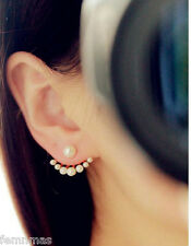 Pearl Simulated Fashion Earring Jacket Pear Earjacket FemNmas Fashion Earring