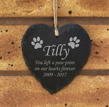 Personalised Hanging Heart Slate Pet Memorial Plaque Grave Marker Cat Paw Print
