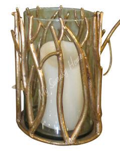 Elegant Gold Twig Branch Pillar Candle Holder 8 in Tall Faux Bois Hurricane