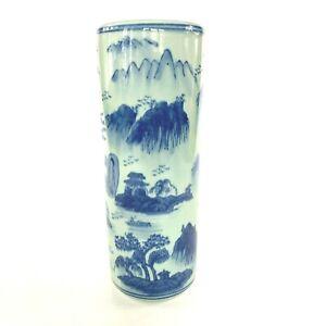 "Oriental Design Blue Vintage Asian Pottery Vase, 14"""