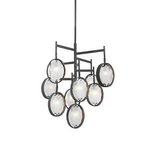 Uttermost-21317-Maxin Chandelier 9 Light Iron/Glass Dark Hammered Bronze Finish