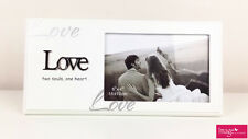 """Love """"Two Souls, One Heart"""" White Picture Frame Wedding Engagement Gift LOV64"""