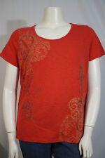 656dd5215f8 St. John s Bay Woman Plus 1X Orange Embroidered Beaded Paisley Slub SS Shirt  Top