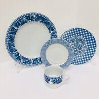 4 Pcs Dinnerware China Porcelain Plates Blue White Flower Checked Gingham New