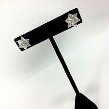 Rhinestone Silver Tone Stud  Snowflake Star Earring Jacket Pierced  Ears Avon NP