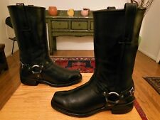Vtg  FRYE Men's Black Leather 12R Belted Harness Boots 9.5M  USA #87250 SWEET!