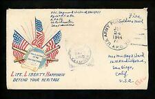 US Postal History WWII Military Free APO #32 1944 Aitape New Guinea Patriotic CA