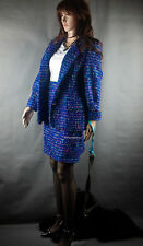 Miss V Clementino Mohair Boucle Tweed Kostüm 2PC Rock Jacket Suit All Season GrM