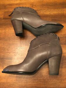 "B Makowsky Booties 7.5M Gray Leather W Studs Silver Tone Chunky 3"" Heel"