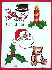 VINTAGE PAPER ART CHRISTMAS 5 STICKERS 1 SHEET SANTA SNOWMAN TEDDY BEAR
