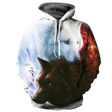Neu Herren Frauen 3D Double Wolf Printed Paar-Hoodies-Sweatshirt Hoodie Pullover