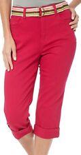 Gloria Vanderbilt Amanda Classic Belted Cuffed Capri, Fiesta Pink, Size 16 NWT