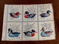 ASORTED DUCKS PILLOW FABRIC PANEL - SET OF SIX IN ONE PANEL - BRAND NEW