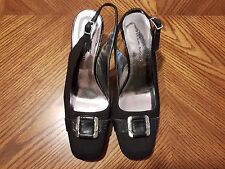 New ETIENNE AIGNER Sava Black Fabric/Leather High Heel Slingback Shoes Size 6.5M