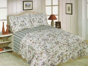 DOUBLE SIZE VINTAGE FLORAL VALE MAE  REVERSIBLE QUILTED BEDSPREAD THROW ONLY