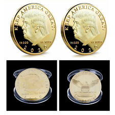 2020 President Donald Trump KEEP AMERICA GREAT Gold Plated EAGLE Coins 2PCS