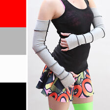 Grey Long Upcycled Patchwork Cotton Arm Warmers Gloves Poi Fire Dancer Flow 1047