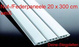 Profilbretter Nut- und Feder, Kunststoff, weiß, 20 cm x 300 cm, 3-Brett-Optik