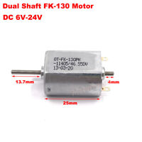 DC 6V-24V 12V 6000RPM Double Dual 2mm Shaft Micro Mini FK-130PH Electric Motor