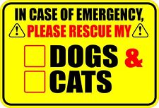 IN CASE OF EMERGENCY RESCUE DOGS & CATS DOG CAT STICKER