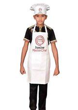 Junior Master Chef Delantal De Color Blanco Para Niños Y Sombrero conjunto Novedad Delantal, Cocina