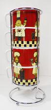 Fun Espresso Mugs with Caddy 5 Pce Set --4 mugs 1 Caddy