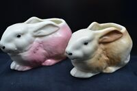 2 Vtg Pottery ?Shawnee Bunny Planters-Same Design, 1 Pink & Other Brown