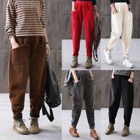 Women Autumn Winter Long Pants Casual Loose Corduroy Harem Trousers Plus Size