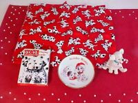 Disney 101 Dalmatian Fabric Ornament Plate Deck Of Playing Cards Lot of 4 Items