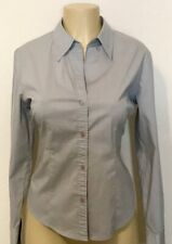 Womens New York & Company Gray Button Up Long Sleeve Work Shirt Size M