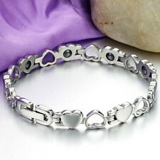 Womens Stainless Steel Magnetic Therapy Love Heart Link Bracelet Pain Relief