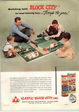 1955 PAPER AD 2 Sided Toy Plastic Block City Scale Model Construction Sets