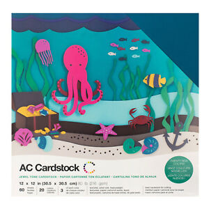"""American Crafts 12"""" x 12"""" Jewel Tone Design Textured Cardstock Pack - 60 Sheets"""