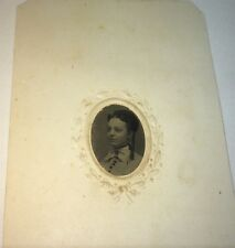 Antique Civil War Victorian American Fashion Lady! Hairstyle Curls Tintype Photo