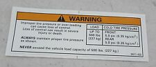 Arctic Cat Tire Pressure Warning Decal for ATV 250 300 400 500 650 2x4 4x4 FIS..