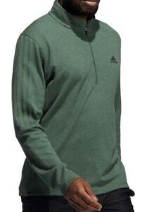 New Men's Adidas Golf 3-Stripe 1/4 Zip Pullover - Green Oxide - Choose Size