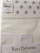 Yves Delorme SECRETE ARGENT SATIN EMBROIDERED FLAT Sheet LUXURY