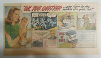 Parker Pen Ad: Quink Ink Oh You Quitter ! 1940' Size: 7.5 x 15 inches